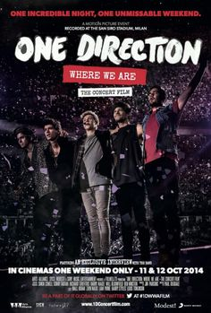 One Direction: Where We Are. Takes place in June 2014 shows of the Where We Are Tour at San Siro Stadium in Milan, Italy. Directed by Paul Dugdale. 2014
