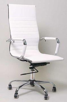 (246) Design Bürostuhl weiss Hohe Rückenlehne Chrom Rahmen Chefsessel Drehstuhl in Büro & Schreibwaren, Büromöbel, Sitzmöbel | eBay