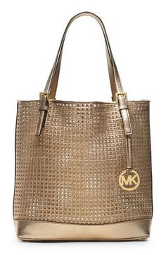 MICHAEL Michael Kors 'Large' Metallic Leather Tote available at #Nordstrom