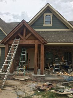 Rantings of a Surviving Daughter Entrance Ideas, House Entrance, Timber Beams, Rustic Exterior, Farmhouse Homes, Stain Colors, Exterior Paint, Paint Ideas, House Colors