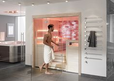 Harmony Solid Wood sauna room by TylöHelo. For home or commercial use as modular prefab sauna units as well as custom made for any budget and size requirements. Swedish Sauna, Indoor Sauna, Dry Sauna, Sauna Room, Kabine, Wellness, Prefab, About Uk, Glass Door
