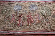 Sublime large French jacquard woven wool tapestry. Muted creams & pinks c1900