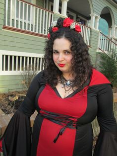 plus size goth vampire dress red and black