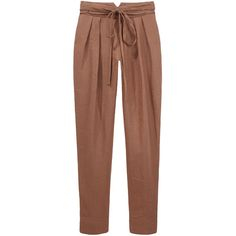 Bruce II Linen Pant w Tie Belt. (3 425 ZAR) ❤ liked on Polyvore featuring pants, bottoms, trousers, pantalones, women, high rise pants, highwaisted pants, high waisted pants, wrap around pants and self tie belt