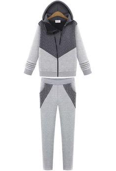 Grey Hooded Long Sleeve Sweatshirt With Slim Pant 27.87