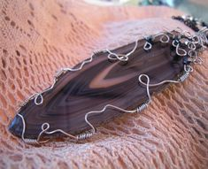Polished Black Agate Pendant Necklace, Wire Wrapped Sliced Stone, Handcrafted #MDHcrafts #Pendant