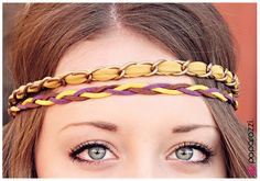 A band of Misted Yellow fabric is threaded between links of brass chain and paired with a braid of purple and yellow suede. Each strand is connected to a strip of black elastic for a comfortable, adjustable fit.  Sold as one individual hippie headband.