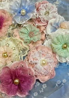Vintage shabby chic vintage lace and trim flowers