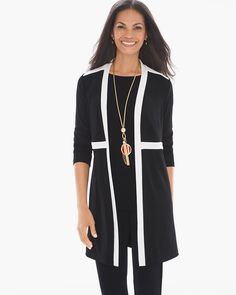 """Like night and day. This beautifully edited jacket is flawlessly fine-tuned in black-and-white colorblocking for a dramatic departure from basic.    Travel-friendly, wrinkle-resistant fabric.   Long sleeves.   Open-front design.   Length: 35"""".   Acetate, spandex.   Machine wash. Made in USA."""