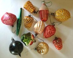 12 Vintage Germany Poland Blown Glass Christmas Ornaments Antique Grapes Indent | eBay