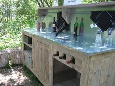 Steigerhoutmeubelen - Home Painted Couch, Bbq Bar, Outdoor Fun, Outdoor Decor, Outside Bars, Bbq Island, Outdoor Kitchen Bars, Small Garden Design, Gardens