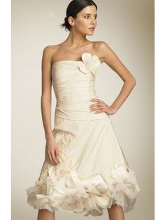 Raw-edged fabric and tulle flowers embellish a divine dress, boned for a shapely fit. Netting gives the skirt volume. Exquisite short dress for beach wedding, summer wedding and any other informal wedding. Available color: white, ivory.