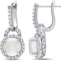 Miadora Sterling Silver Opal and White Topaz Halo Dangle Earrings ($178) ❤ liked on Polyvore featuring jewelry, earrings, white, sterling silver jewelry sets, long earrings, sterling silver dangle earrings, white earrings and sterling silver jewelry
