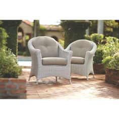 Martha Stewart Living Lake Adela Patio Chat Chairs With Wheat Cushions  (2 Pack)
