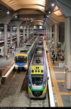 Werribee and Geelong bound trains share platforms 14 and 15 at Southern Cross Station, Melbourne, Australia.