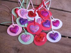 Valenitne's Day Heart Gift Tags Set of 16 Puff by SnowNoseCrafts