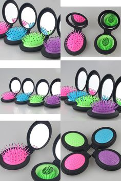 [Visit to Buy] Folding Pocket Travel Comb Mirror Compact Travel Size HairMassage Comb Multifunction Tangle Hair Combs With Mirror Styling #Advertisement