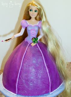 Princess Rapunzel barbie birthday cake tutorial finished