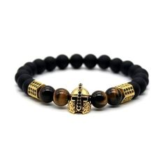 "Stunningly handcrafted, this beautiful beaded black matte stone men's bracelet is perfect to sit beside your watch to complete your daily ensemble. Below are its unique features: - Length: 7.48"" or 19"