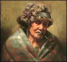 Ina Te Papatahi was one of the first Maori, artist C.F.Goldie met and she was one of his favourite models. He painted her likeness more than 18 times, this study being one of the earlier ones. She was a Ngapuhi chieftainess and a niece of both Tamati Waka Nene and Eru Patuone.