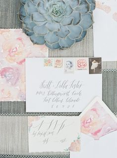 Watercolor and succulent wedding invitation suite: http://www.stylemepretty.com/collection/3669/ Photography: Caroline Frost - http://www.carolinefrostphotography.com/
