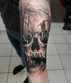Cemetery/Skull tattoo done by Klym Mainland at In Depth Tattoos, Regina SK - tattoos - Tattoo MAG Hand Tattoos, Forarm Tattoos, Creepy Tattoos, Badass Tattoos, Forearm Tattoo Men, Body Art Tattoos, Horror Tattoos, Dainty Tattoos, Celtic Tattoos