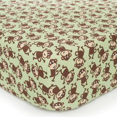 Printed Fitted Crib Sheet - Monkey