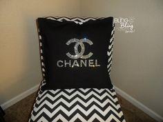 BLING Rhinestone Chanel Pillow by kimmymoritz on Etsy, $39.00