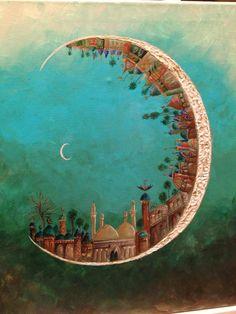 Iraqi artist Sala Alwakeel Spiritual Paintings, Middle Eastern Art, Moroccan Art, Islamic Wallpaper, Islamic Art Calligraphy, Arabic Art, Art Courses, Ramadan, Art Inspo