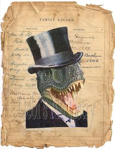 Dino man in tophat vintage IMAGE for transfer on pillows, dictionary pages, crafting or scrapbooking sheet page, instant digital download