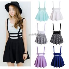 Womens Skater Strap Dress Suspender Skirt Women Mini Cute Kawaii Pleated Dress in Clothes, Shoes & Accessories, Women's Clothing, Skirts |…