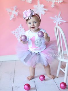Winter ONEderland Pink Snowflake Winter Themed Birthday Tutu Outfit, Snowflake Princess Tutu Set; Snowflake Birthday Tutu *Bow NOT Included* by TickleMyTutu on Etsy https://www.etsy.com/listing/114290750/winter-onederland-pink-snowflake-winter