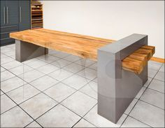 table with microcement bases and surface from trunks!