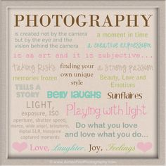 REAL photographers capture all of this ...