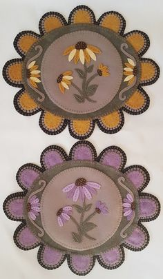 Through the Garden Gate Pattern PLP-188 Coneflowers and sunflowers add such a nice touch to these table mats.