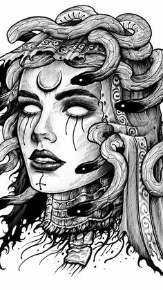 Discover recipes, home ideas, style inspiration and other ideas to try. Medusa Tattoo Design, Tattoo Design Drawings, Tattoo Designs, Dark Art Drawings, Art Drawings Sketches, Tattoo Sketches, Dark Art Tattoo, Body Art Tattoos, Sleeve Tattoos