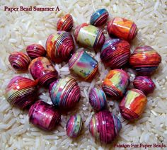 Paper Beads Summer A by PassionForPaperBeads on Etsy