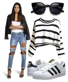 """""""382.Striped Jumper"""" by theofficialfashiondreamer on Polyvore featuring Boohoo, adidas Originals, women's clothing, women's fashion, women, female, woman, misses and juniors"""