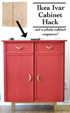 This Ikea Ivar cabinet hack adds a unique update to the plain Ikea Ivar cabinet. A full tutorial to make a sideboard from using the Ikea Ivar cabinet including how to paint the cabinet and more character with new hardware and molding. Ikea Furniture Hacks, Diy Furniture Projects, Retro Furniture, Furniture Makeover, Diy Projects, Cheap Furniture, Furniture Websites, Furniture Movers, Furniture Online