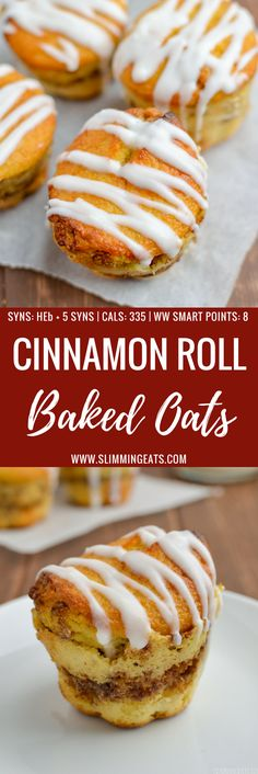 Just wait till you try these Cinnamon Roll Baked Oat Muffins - they are totally delish! gluten free, vegetarian, Slimming World and Weight Watchers friendly astuce recette minceur girl world world recipes world snacks Slimming World Breakfast Muffins, Baked Oats Slimming World, Slimming World Puddings, Slimming World Vegetarian Recipes, Slimming World Cake, Slimming World Desserts, Slimming Recipes, Slimming Eats, Slimming World Biscuits