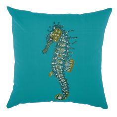 Mina Victory Indoor/ Outdoor Beaded Seahorse Turquoise Throw Pillow by Nourison