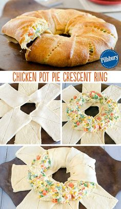 A comfort food twist: Chicken Pot Pie Crescent Ring! Use Pillsbury crescent rolls to create an easy weeknight dinner. Combine shredded chicken, soup and vegetables all in one. This will be a new family-favorite meal to keep in your back-pocket!