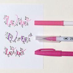 Brush Pen Calligraphy, Calligraphy Doodles, Calligraphy Tutorial, How To Write Calligraphy, Doodle Lettering, Creative Lettering, Lettering Tutorial, Calligraphy Letters, Typography Letters