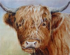 Highland Cow Painting Original Canvas by M James Scottish Farm Animal Art Scottish Highland Cow, Highland Cattle, Scottish Highlands, Scottish Gaelic, Farm Animals, Animals And Pets, Cute Animals, Beautiful Creatures, Animals Beautiful