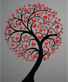 Cute Tree With Hearts Decor Wall Decal Art