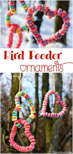 Easy Kid Made Bird Feeder Ornaments Everyone Loves, Heart Bird Treats, Easy bird… – Teaching Preschool – Kids Craft & Activities Garden Crafts For Kids, Valentine Crafts For Kids, Valentines Day Activities, Crafts For Kids To Make, Valentine Ideas, Kids Diy, Babysitting Activities, Craft Activities, Preschool Crafts