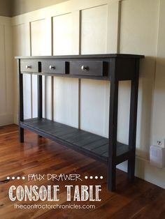 Faux Drawer Farmhouse Console Table: Spencer and Amanda Jones of The Contractor Chronicles built this DIY entry hall table in one afternoon for about $30. Click through to see the tutorial. || @contractorwifey