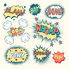 Comic Book Sound Effects Royalty Free Stock Vector Art Illustration Illustrations, Illustration Art, Comic Text, Comic Boom, Comic Books Art, Comic Book Yearbook, Comic Book Font, Yearbook Ideas, Comic Styles
