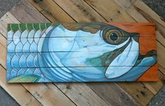 Fish and wildlife paintings on handmade wood panels. Original acrylic painting on reclaimed and refurbished oak pallet wood. Size is