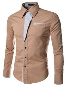 TheLees Mens Casual Long Sleeve Stripe Patched Fitted Dress Shirts BEIGE Medium(US X-Small)